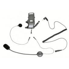 Úchyt na přilbu pro špunty do uši, připojitelný mikrofon na ohebném raménku a mikrofon