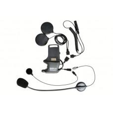 Úchyt na přilbu pro sluchátka, špunty do uší, mikrofon na ohebném raménku a pevný mikrofon